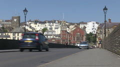 The Long Bridge A386 Stone Road Bridge across River Torridge in Bideford Town Stock Footage