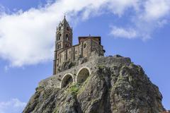 Church SaintMichel d39Aiguilhe Le PuyenVelay Auvergne France Europe Stock Photos