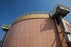 Digestion tank in a sewage treatment plant Stock Photos