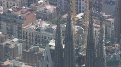 AERIAL Spain-La Sagrada Familia Stock Footage
