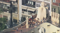 AERIAL Spain-Casa Mila Stock Footage