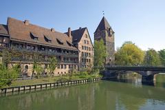 Schuldturm debtors tower HeiligGeistSpital hospital and Heubrucke bridge on - stock photo