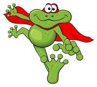 frog hero jumps with cape - stock illustration