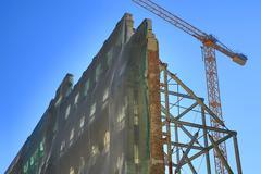 Historic facade new construction Calle de Alcala Madrid Spain Europe - stock photo