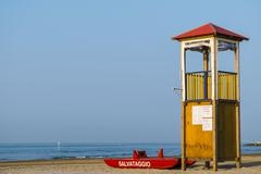 Lifeguard tower and rescue boat Adriatic Italy Europe Stock Photos