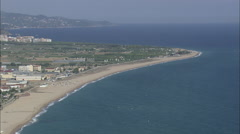 AERIAL Spain-Malgrat De Mar And Headland - stock footage