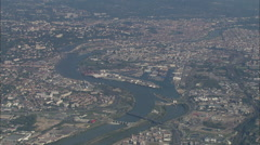 AERIAL France-Approaching Lyon Up The The River Rhone Stock Footage