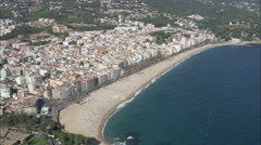 AERIAL Spain-Lloret De Mar North Beach Stock Footage