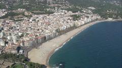 AERIAL Spain-Lloret De Mar North Beach - stock footage