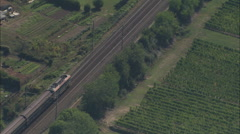 AERIAL France-Passenger Train Going South From Gervans Stock Footage
