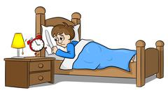 sleepless man wakes up in the morning by the alarm clock - stock illustration