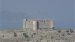 AERIAL Spain-Torroella De Montgri Castle Stock Footage