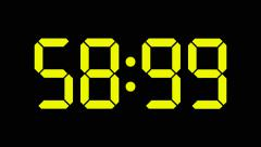 Digital countdown of 60 seconds with regular hundredths, yellow numbers - 60fps Stock Footage