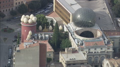 AERIAL Spain-Figueres And Dali Museum Stock Footage