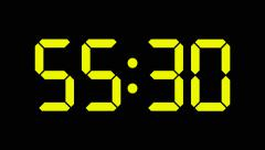 Digital countdown of 60 seconds with complete sixtieths - yellow numbers - 60fps - stock footage