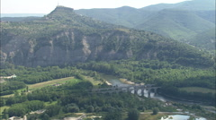 AERIAL France-Old And New Bridges Over Ardeche Stock Footage