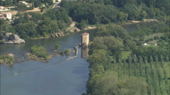 AERIAL France-The Ardeche River Near Vallon-Pont-D'Arc Stock Footage