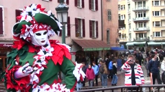 Venetian Costume Carnival in Annecy, France Stock Footage