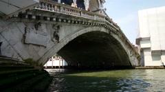 Stock Video Footage of Gondolas under the Ponte Rialto, Venice