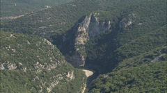 AERIAL France-Looking Down Into Ardeche Gorge Stock Footage