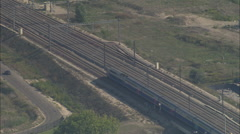 AERIAL France-Tgv Leaving Avignon Through Tunnel - stock footage