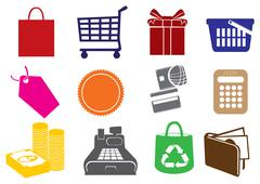 Retail Business Vector Icon Set Stock Illustration