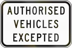 Authorized Vehicles Excepted in Australia Stock Illustration