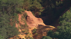 AERIAL France-Old Ochre Quarries At Roussillon Stock Footage