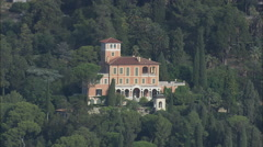AERIAL Italy-Mortola Inferiore And Villa Stock Footage