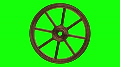 Cart wheel on a green background Stock Footage