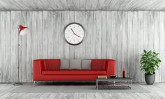 Red couch in old wooden room Stock Illustration