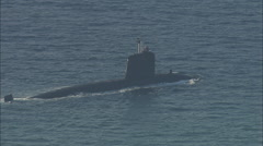 Stock Video Footage of AERIAL France-French Nuclear Submarine Entering Toulon