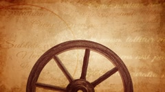 Cartwheel on a vintage background, ancient wheel Stock Footage