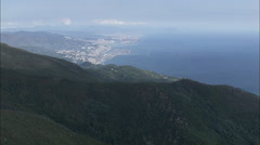 AERIAL Italy-Genoa From High Up To The North Stock Footage