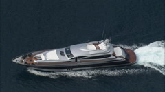 AERIAL France-Motor Yacht Turning For Saint-Tropez Stock Footage