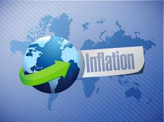 Stock Photo of inflation international globe sign concept