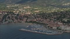 AERIAL France-Track Along Coastline By Saint-Maxime Stock Footage