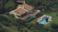 AERIAL France-Houses Covering Point Des Isssambres Stock Footage