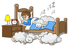 Sheep fall asleep on the bed of a sleepless man Piirros