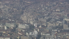 AERIAL Italy-Approaching Milan Cathedral Stock Footage