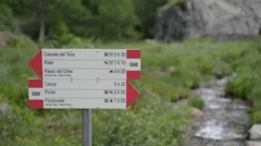 Stock Video Footage of trip pointer indicator showing the direction of travel routes in the Alps