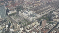 AERIAL Italy-Milan Train Station Stock Footage