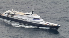 AERIAL France-Large Motor Yacht On Way To Monaco - stock footage