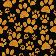 Orange and Black Dog Paw Prints Tile Pattern Repeat Background - stock illustration