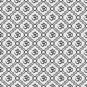 Black and White Aum Hindu Symbol Tile Pattern Repeat Background Stock Illustration
