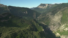 AERIAL France-Mountain Valley Leading To Annot Stock Footage