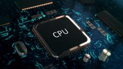 Data Processing Cpu and Circuit Board Stock Footage