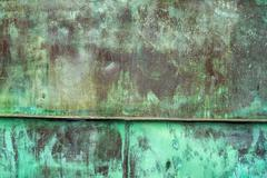 Oxidized Green Copper Plate Texture as Background Stock Photos