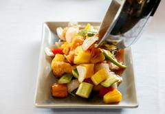 Stir fries mixed vegetable  with spice sauce. - stock photo