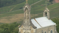 AERIAL France-Passing Notre Dame Du Raison Stock Footage